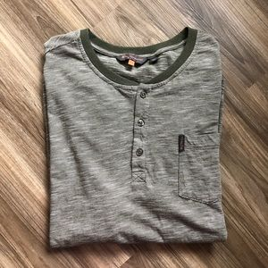 Ben Sherman Birdseye Stripe Henley T Tee Shirt